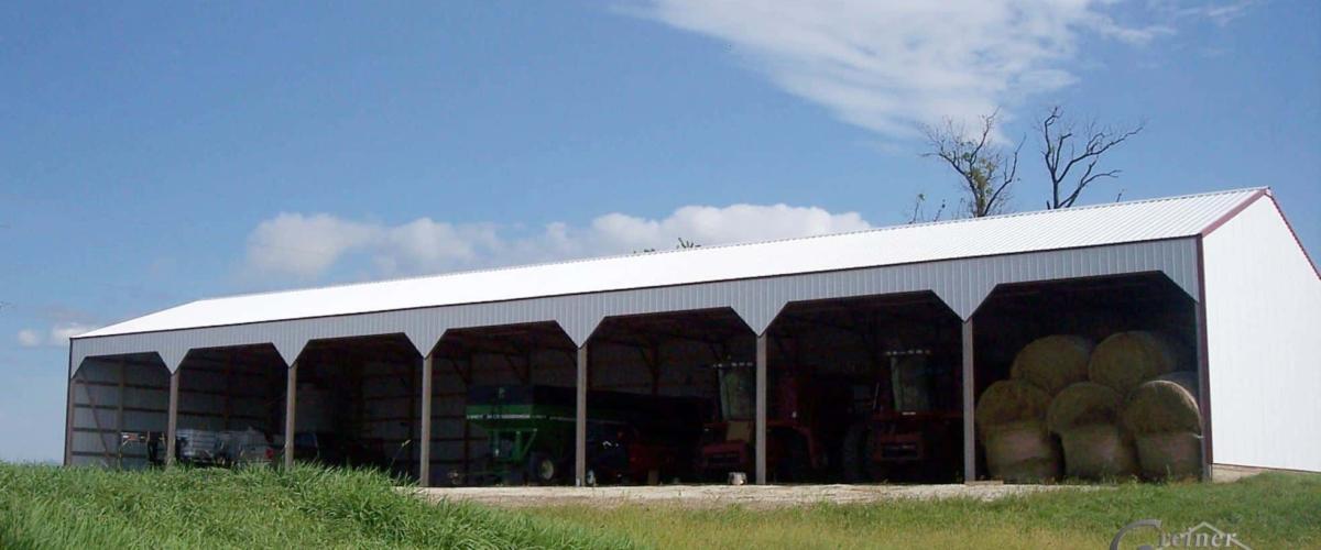 open machine shed storage pole building