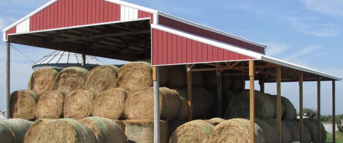 red farm pole building structure