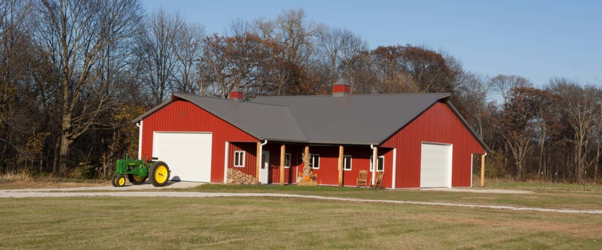 award winning red pole barn storage garage
