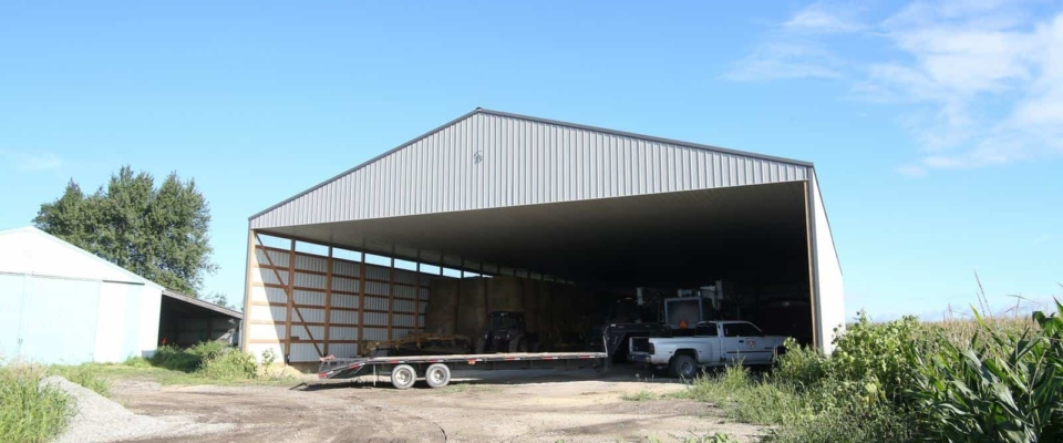 open wall machine shed farm storage building