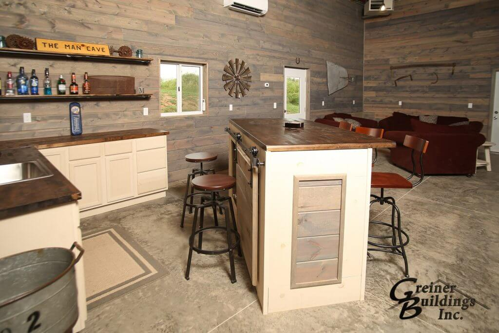 Kitchen in the pole barn man cave.