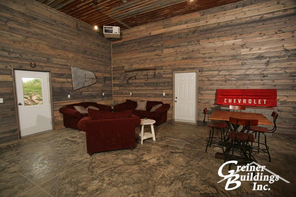 Great room in the man cave. Exterior shell built by Greiner Buildings