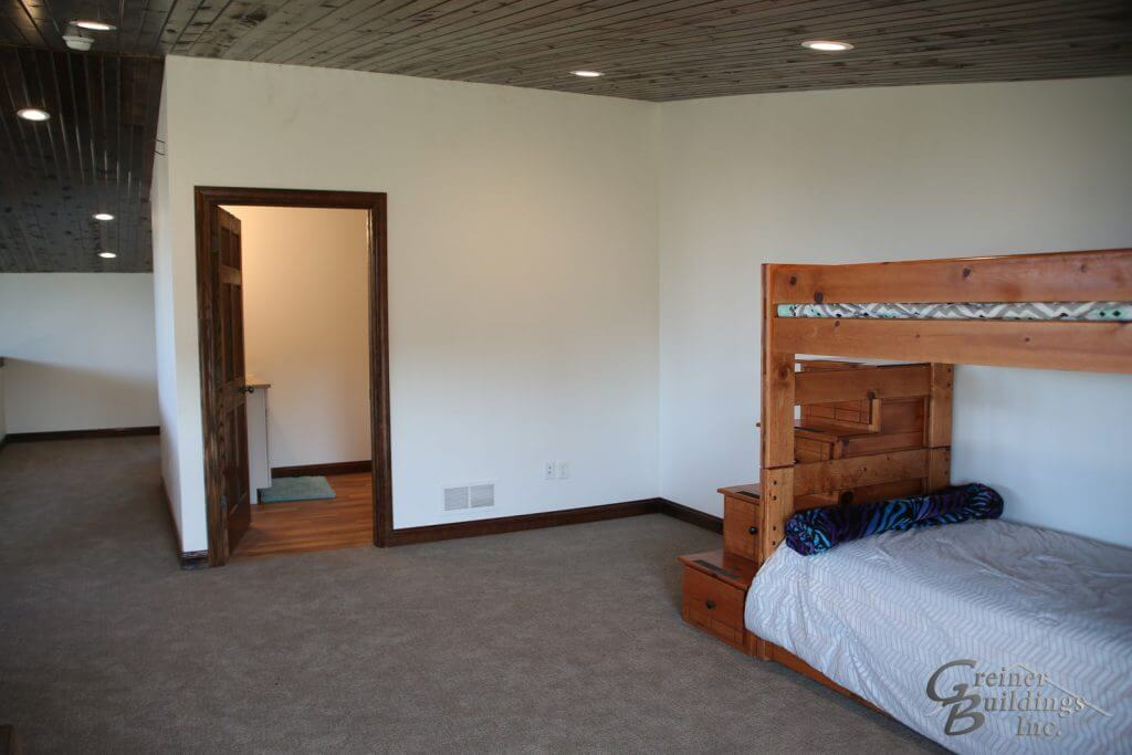 Shop Machine Shed Shome Man Cave Open Loft Bedroom Muscatine, Iowa built by Greiner Buildings