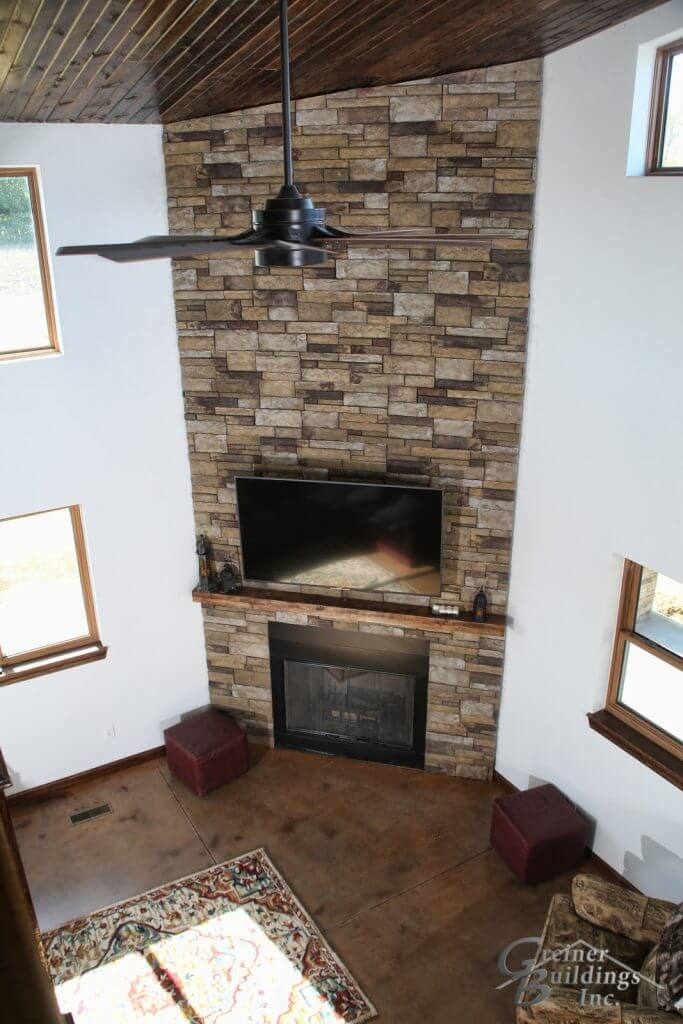 Shop Machine Shed Shome Man Cave Fireplace Quad Cities Muscatine, Iowa built by Greiner Buildings