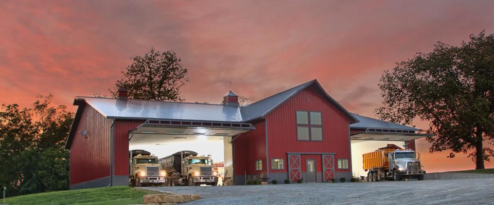 large red award winning ag post frame building