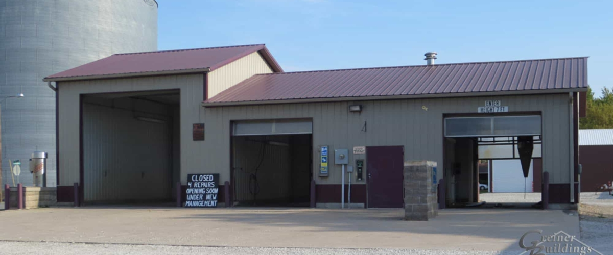 post frame car wash business building