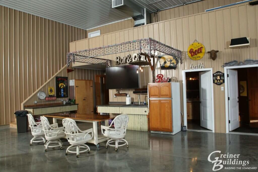 kitchen area inside metal pole building