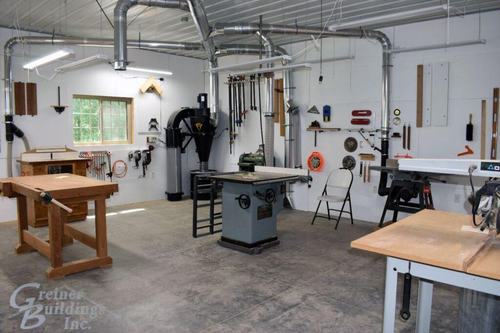 workshop area inside insulated hobby garage pole building