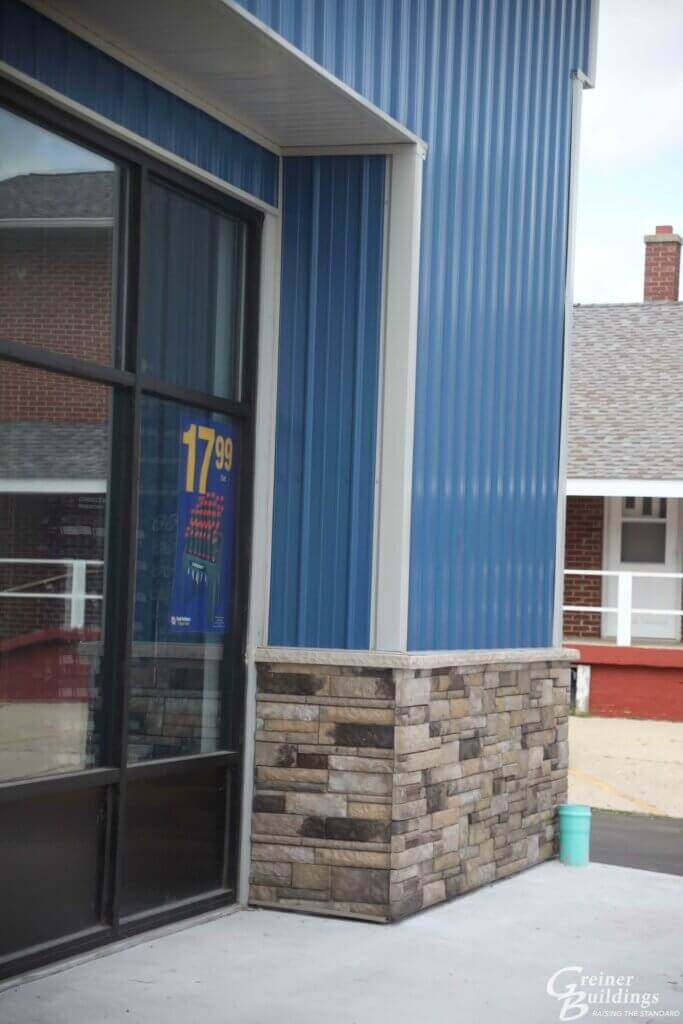 blue metal siding on new pole building