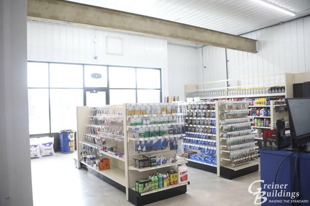 inside napa auto store pole building