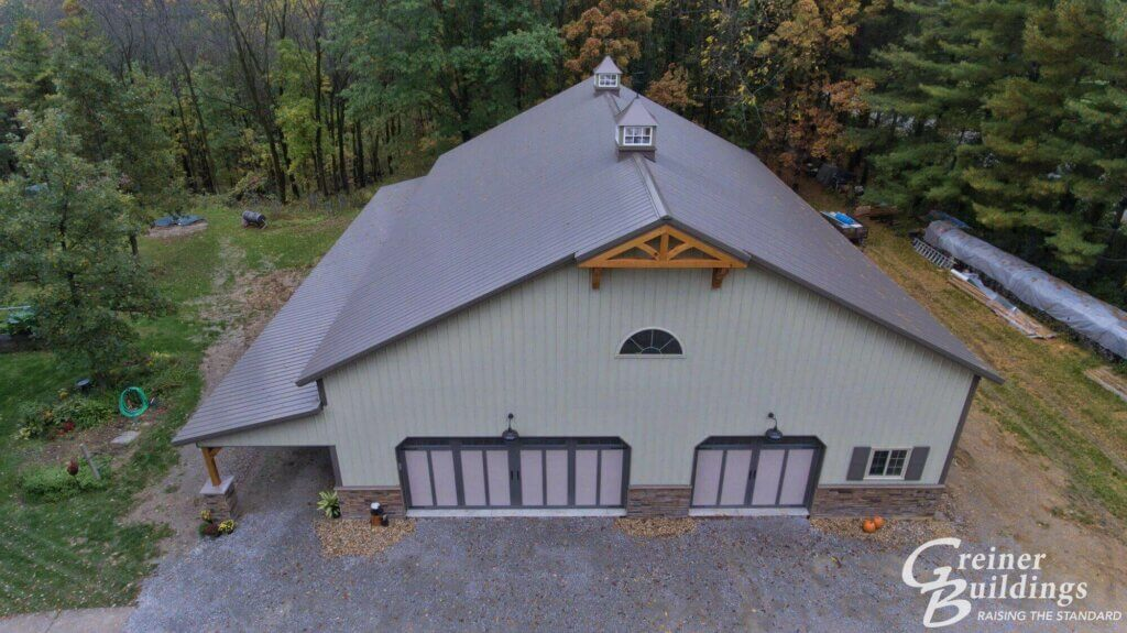 large pole building garage drone view
