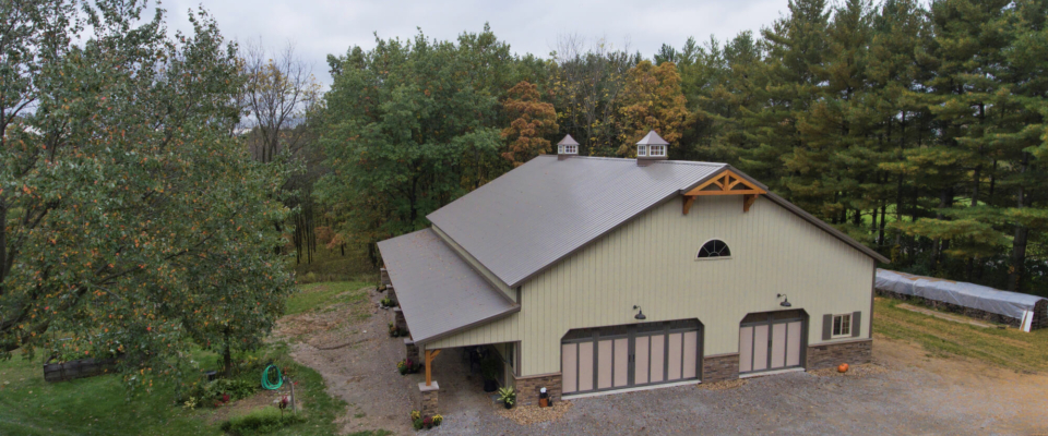custom pole barn garage with unique custom features