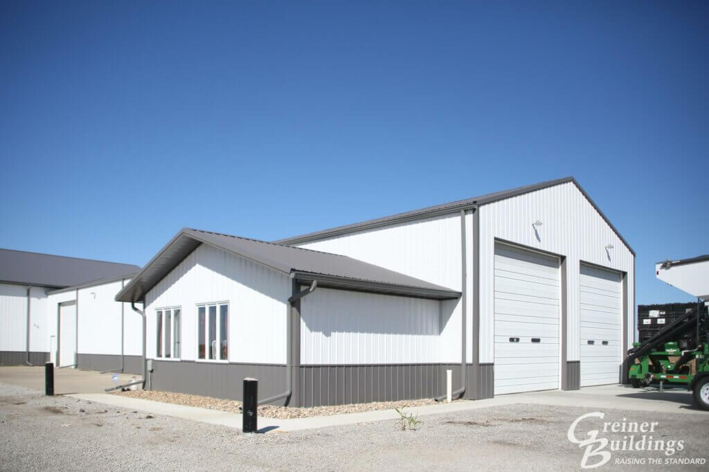 white and gray pole building for ag business