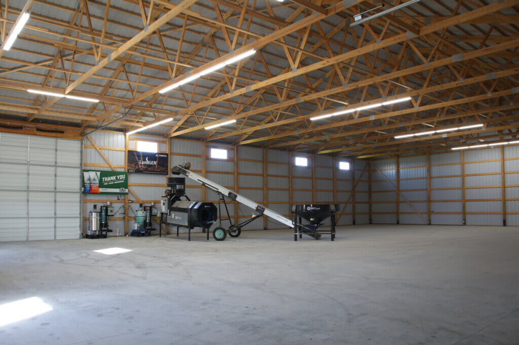 inside new pole building for ag business