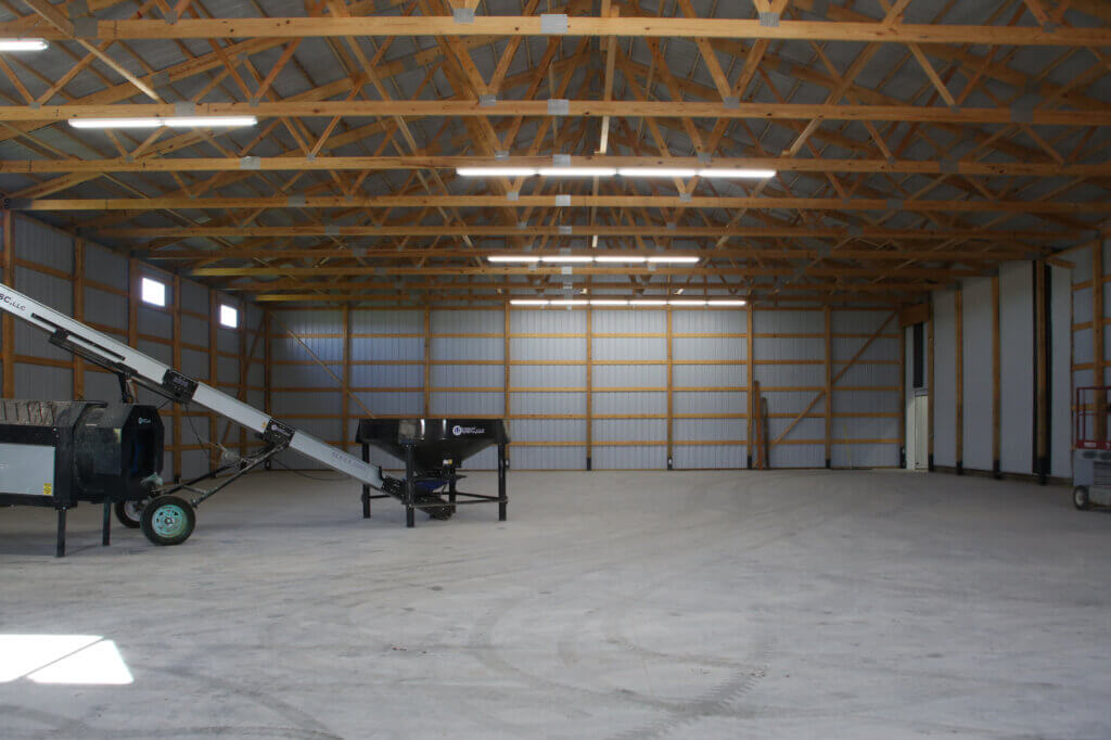 interior of commercial pole building