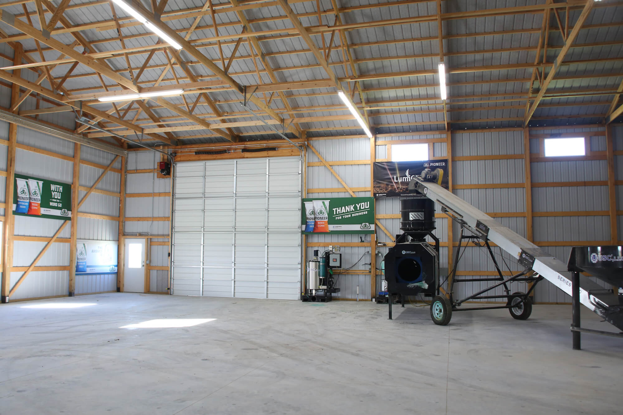 inside view of commercial seed post frame building