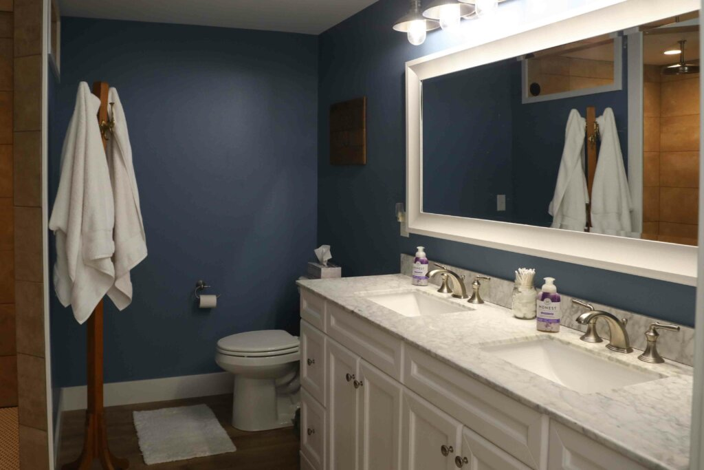 his and her bathroom sink inside pole barn house