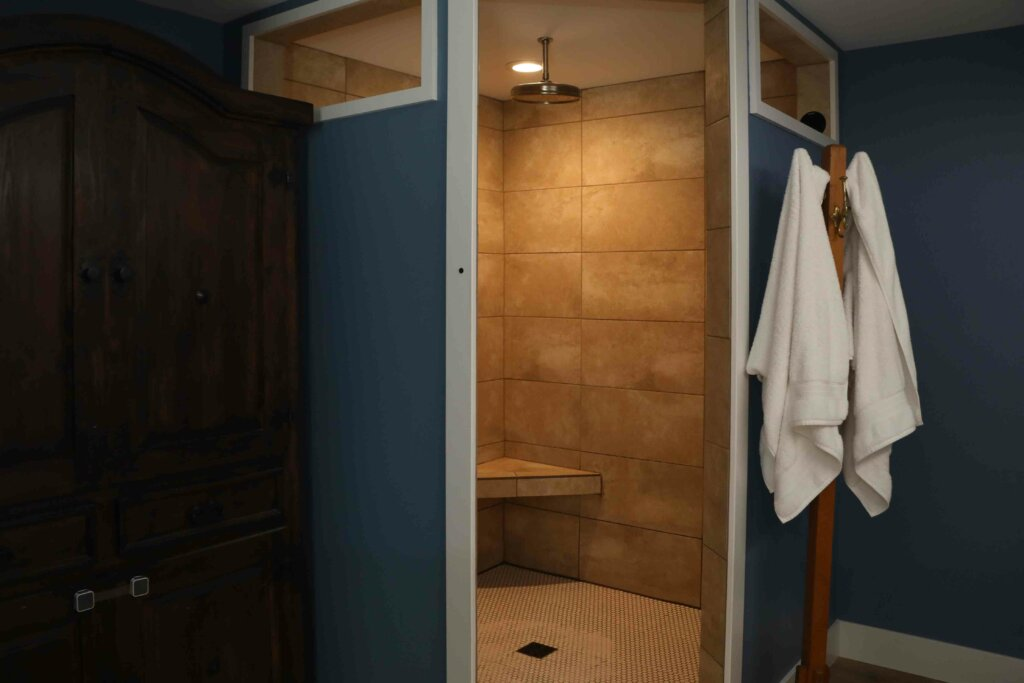 shower inside pole barn house