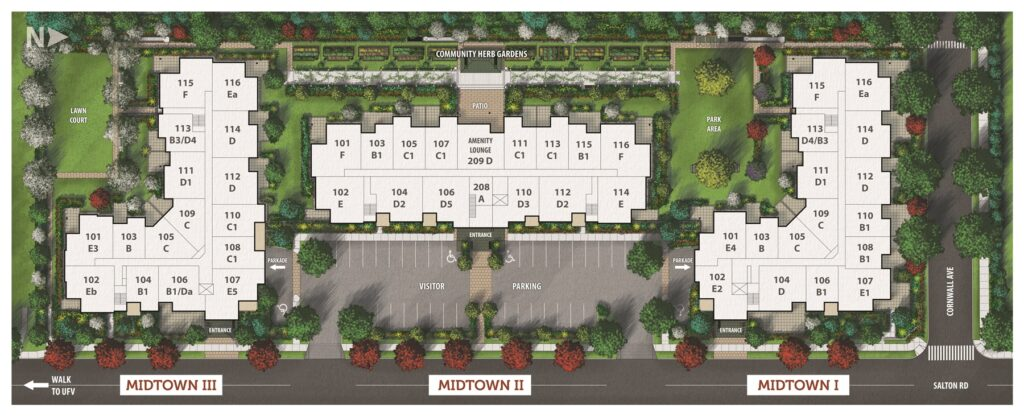 Midtown Club Suites in Abbotsford site map
