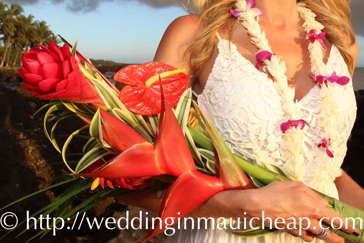 Barefoot Maui Wedding Long Stemmed Bouquet Maui beach wedding or vow renewal