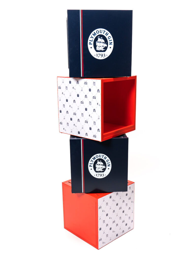 'Plymouth Gin' branded stackable wood display