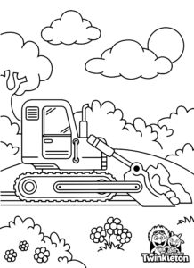 Coloring Page Bulldozer with Bucket