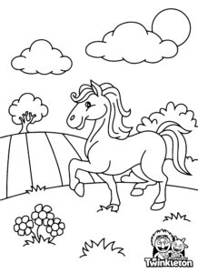 Coloring Page Cute Cartoon Horse