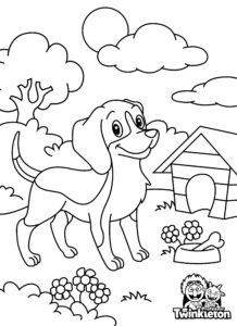Coloring Page Dog and Dog House