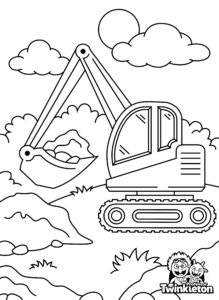 Coloring Page Excavator with Bucket