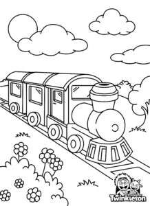 Coloring Page Old Steam Locomotive