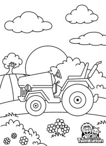 Coloring Page Tractor at the Farm