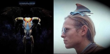 Boyd Elder's 'One of These Nights' and Rick Griffin's turkey breast cap. Composite: Randy Nauert.