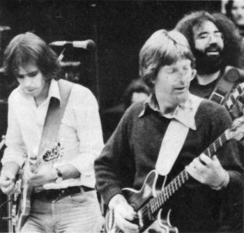 Bob Weir, Phil Lesh and Jerry Garcia of the Grateful Dead at Lindley Meadows, Golden Gate Park, San Francisco, 1975. Photo: Matthew Cupp.