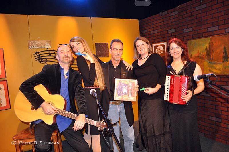 Christian Nesmith, Circe Link, Stephen K. Peeples, Laura Drew and Debra Tala on the 'House Blend' set at SCVTV. Photo: (c) Peter B. Sherman.