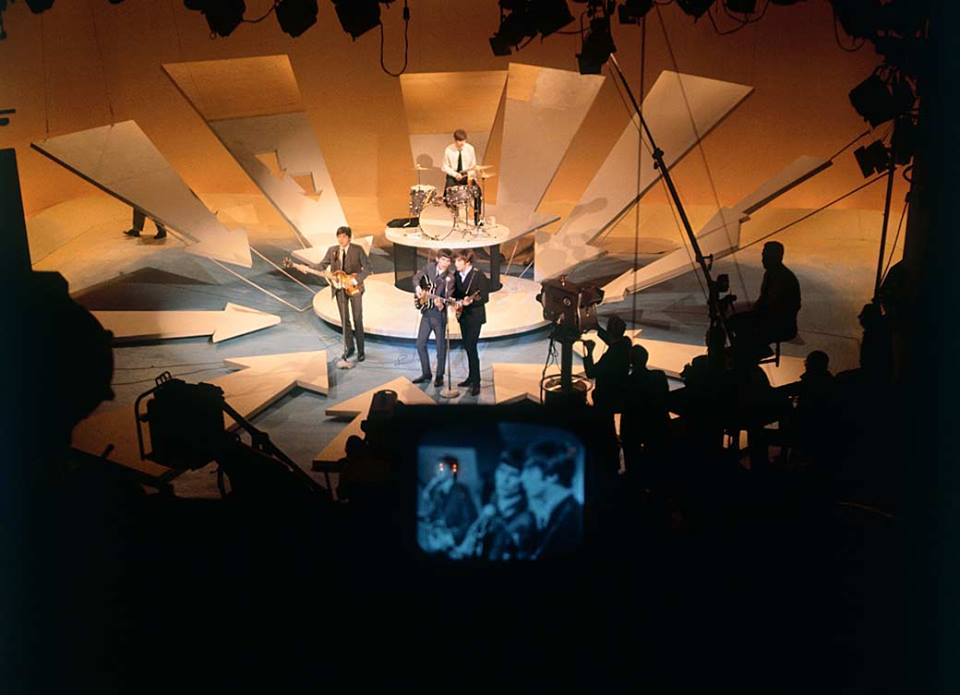 The Beatles perform onstage at the Ed Sullivan Show Feb. 9, 1964