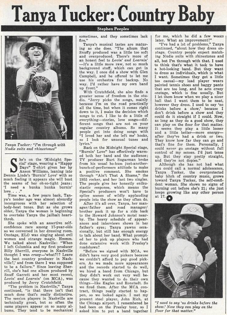 Tanya Tucker: Country Baby – Circus Magazine, June 1, 1976