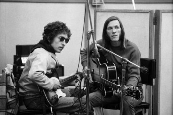 Bob Dylan and Doug Sahm during 'Doug Sahm and Band' sessions. Photo: David Gahr.