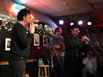 """Mickey Raphael, Joe Cirotti and Kinky Friedman hold forth at the Bluebird Cafe in Nashville on Friedman's fall 2015 tour supporting 'The Loneliest Man I Ever Met."""""""