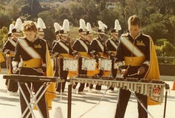 Percussion players Val Pryor and Rod Bennett drive the UCLA Marching Band, 1985.
