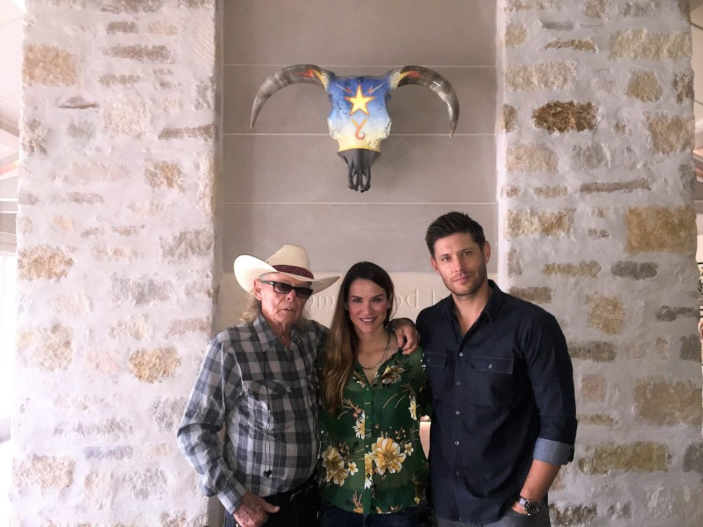 Boyd Elder, Danneel Ackles and Jensen Ackles hang with 'Y6' at the couple's home near Austin, Texas.
