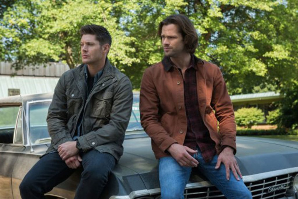 "Jensen Ackles (left) as Dean Winchester partners with his brother Sam (co-star Jared Padalecki) to hunt demons in the long-running CW TV series ""Supernatural."""
