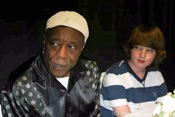 Buddy Guy and Quinn Sullivan backstage at the Hollywood Bowl, June 12, 2011. Photo: Stephen K. Peeples.