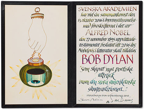 Bob Dylan Nobel Diploma by artist Jens Fange and calligrapher Annika Rucker (c) Nobel Foundation 2016