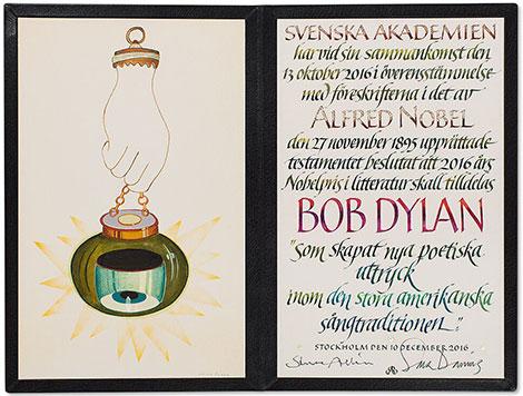Bob Dylan Nobel Diploma by artist Jens Fange and calligrapher Annika Rucker (c) Nobel Foundation 2016