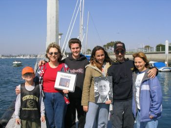 Bill Peeples' family scattered his ashes in Santa Monica Bay on March 6, 2004. From left: Michael Hooper; Nadine, Scot, Veronica, Stephen and Ruth Peeples.