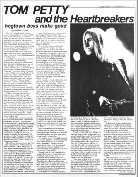 Tom Petty feature by Stephen K. Peeples, Rock Around the World, October 1977