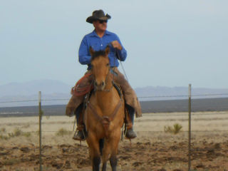 Bodie Means and Gunny ride the range on the Y6 Ranch near Valentine, Texas.