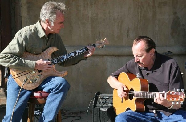 Renaud Veluzat and Nokie Edwards, Melody Ranch, Newhall, California, April 2009. Photo: Stephen K. Peeples.