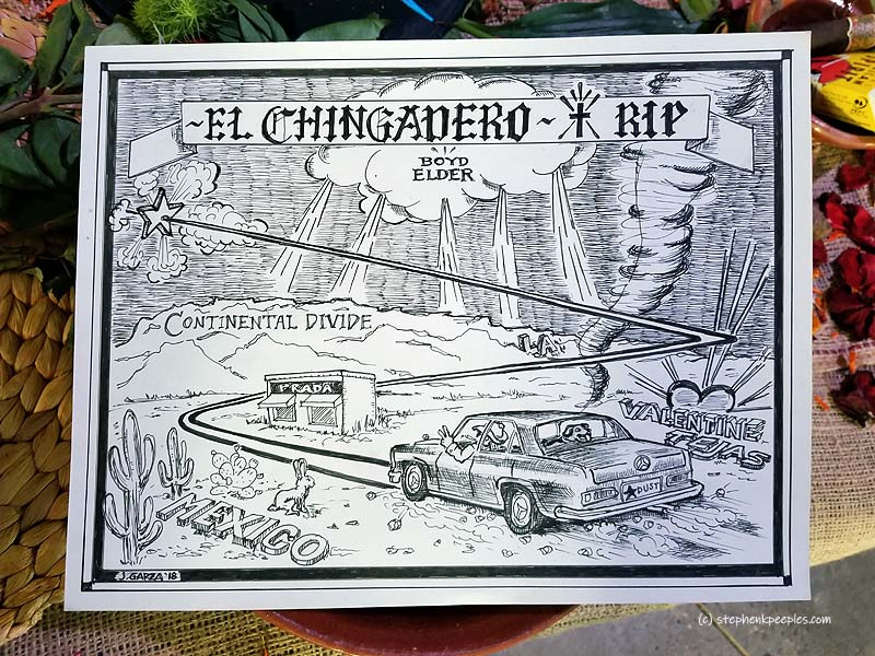 "An October 2018 update of Rick Griffin's 1972 poster for Boyd Elder's infamous ""El Chingadero"" art show in Venice, California, by Garza, who depicts Boyd in his Benz (licence plate Stardust), with Sombra in the backseat, hauling ass like a Texas tornado from Valentine past the Prada Marfa installation, across the Continental Divide, over L.A. and into stardust for eternity."