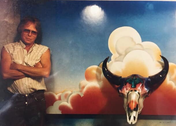 """Boyd Elder and """"American Festish - RIP"""" skull and canvas, 1970s. Photo: Courtesy Boyd Elder Estate."""